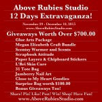 Free Prizes for 12 Days Above Rubies Studio