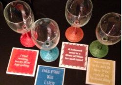 Glitter Wine Glasses and Customized Personal Coasters