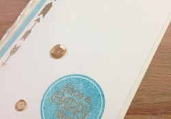 Layered Ink Color Metallic Embossing and Sequins